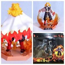 20cm Anime demonio asesino Kimetsu No Yaiba GK Rengoku Kyoujurou nueve columna resonancia PVC figura de acción de muñeca coleccionable en miniatura de juguete