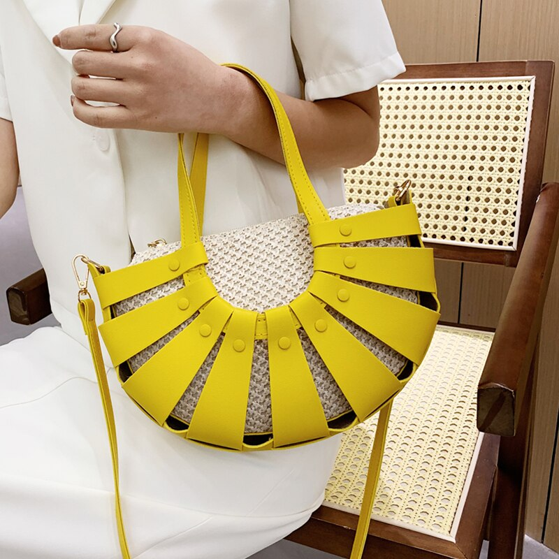 Half Moon Design Totes Bag Luxury Straw Women Handbag 2021 New Trend Hollow Out Messenger Bags Ladies Retro Leather Shoulder Bag