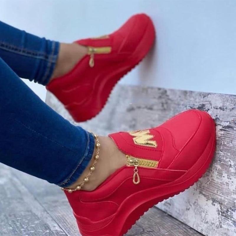 Spring Black Wedges Sneakers Platform Women Shoes Thick Bottom Fashion Zipper Non-slip Casual Korean Women's Vulcanized Shoes