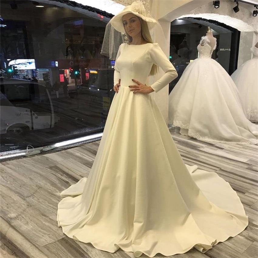 Nuoxfang-فستان زفاف ساتان عتيق بسيط ، أكمام طويلة ، فستان زفاف على شكل حرف a ، قطار محكمة ، 2020