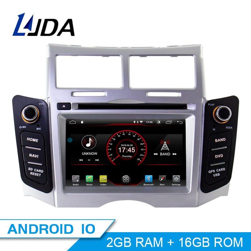 LJDA 2 Din Android 10,0 coche Radio para Toyota Yaris 2005-2011 coche Multimedia Player Stereo audio de coche GPS navegación DVD Video