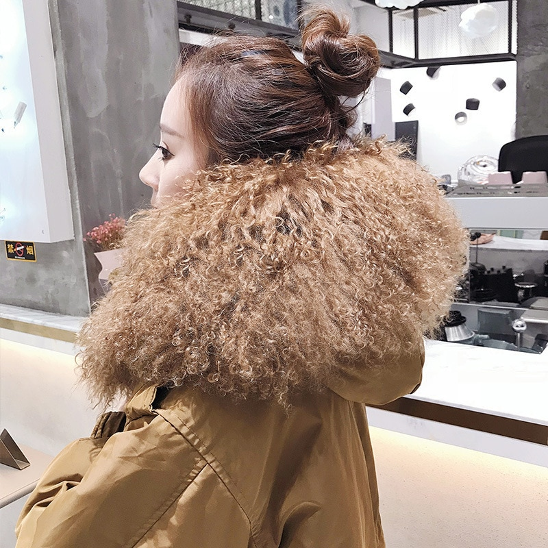 Chaqueta de plumón de pato blanco para mujer, piel grande con cuello de abrigo de invierno, abrigo de plumón coreano, Parka cálida 71108 YY1503