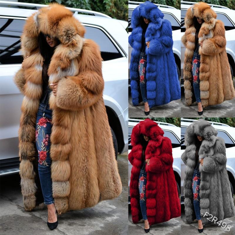 Fashion Long Winter Hooded Faux Fur Coat Loose Thick Warm Plus Size 5xl Artificial Fur Jacket Women Full Sleeve Outerwear Coats