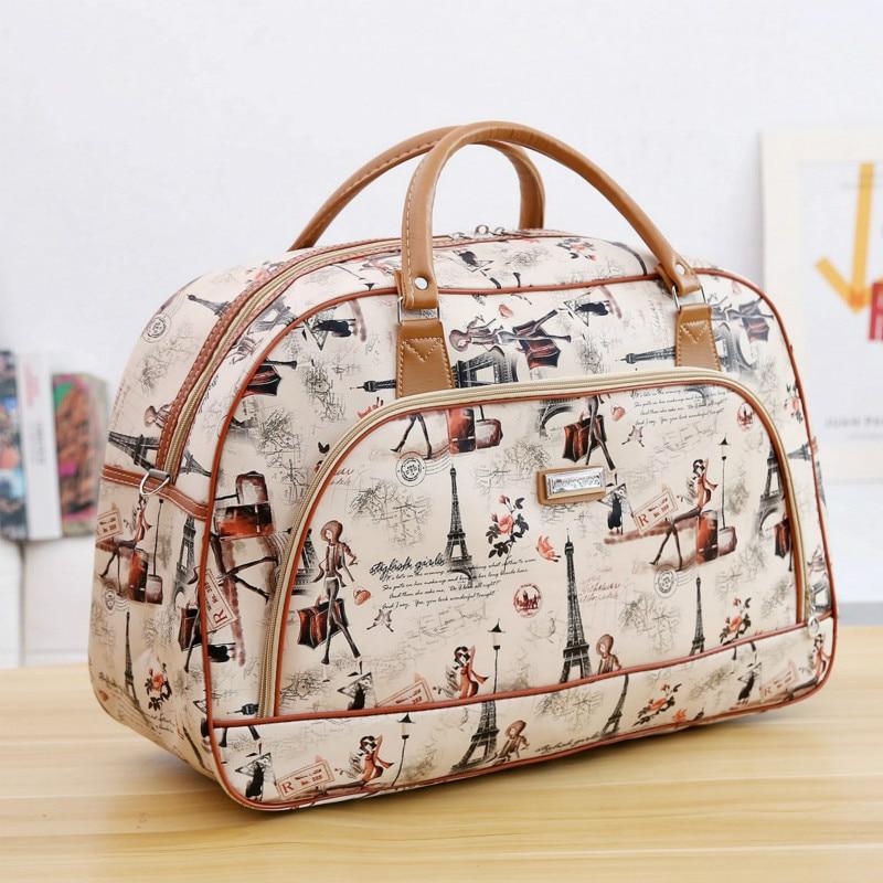 Bolso de viaje con dibujos animados para mujer, bolso de mano para niños, bolso impermeable de cuero PU, bolso de viaje grande, bolso casual para chicas, bolsos de moda