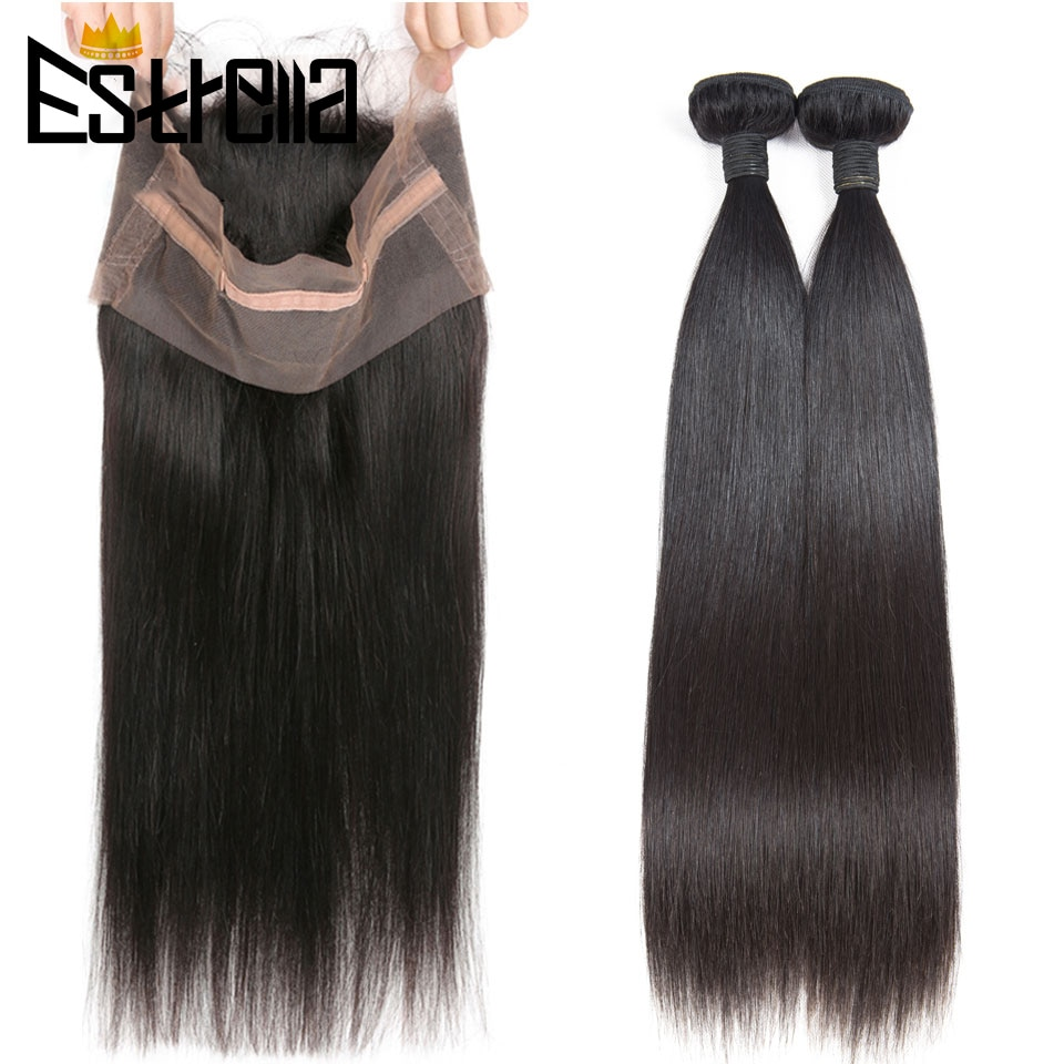 ESTRELLA Peruvian 360 Lace Frontal with Bundles Straight Human Hair Weave Bundles With Closure Remy Hair Extension with Frontal