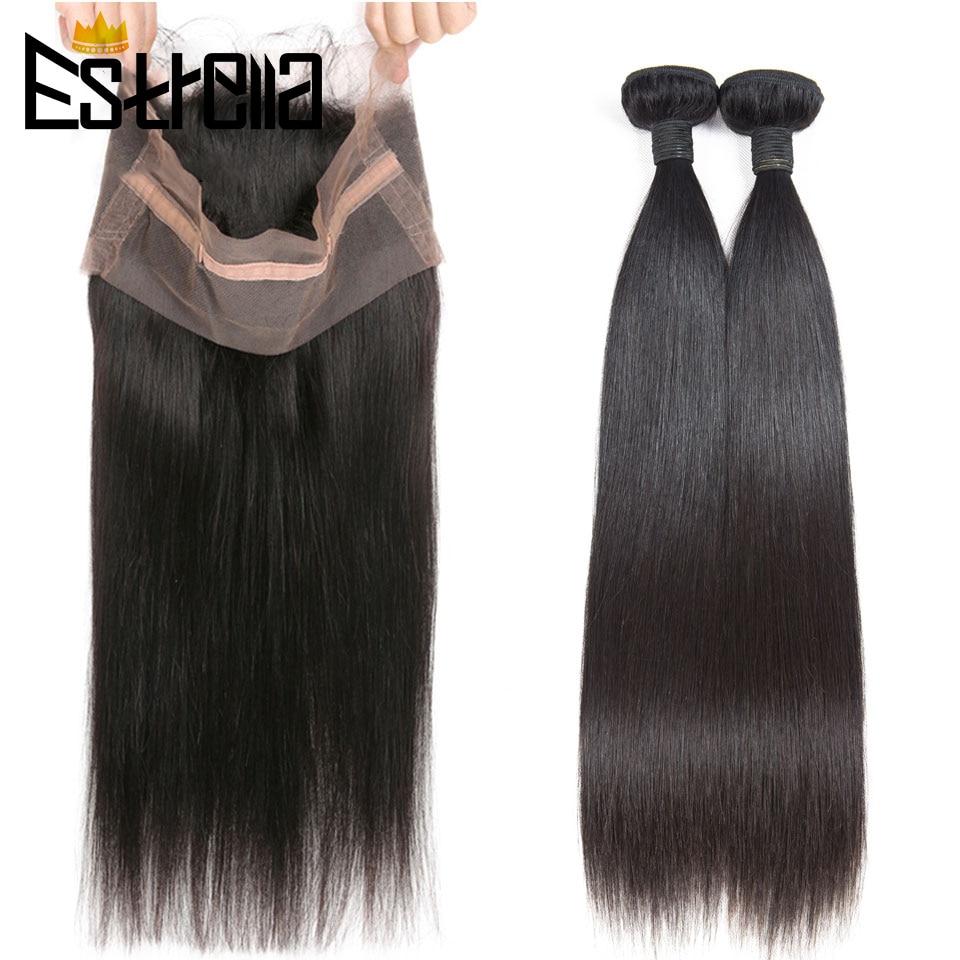 ESTRELLA-وصلات شعر ريمي بيروفية ، شعر بشري ناعم ، مع غطاء دانتيل ، 360