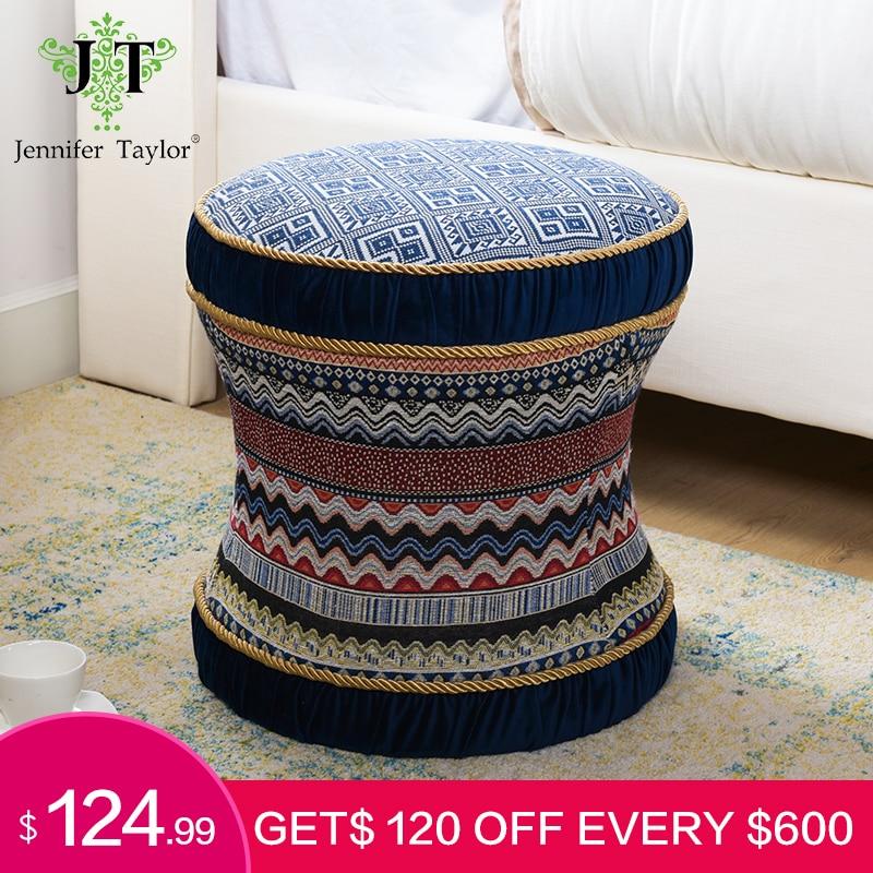 Jennifer taylor otomano redonda sala de estar móveis vaidade sofá banqueta pufa estate azul veludo decorativo multicolorido