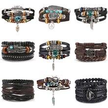 Boho Hommes Bracelet Cadeau Vintage Multiples Couches Bracelet En Cuir Corde Bracelet Chaine Charms Chouette Bracelets Pour Hommes Bijoux