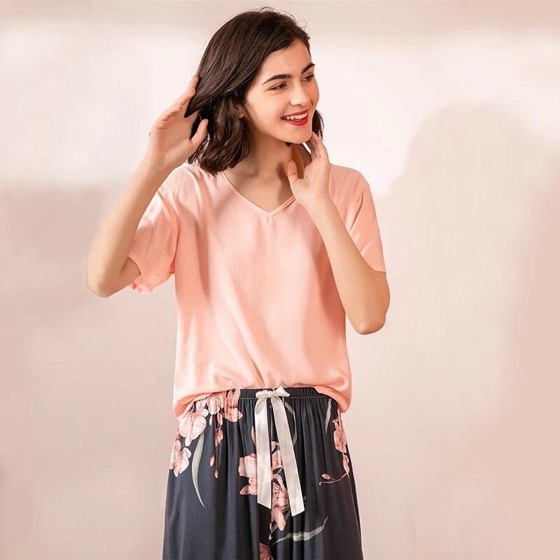 JULY'S SONG 2 Pieces Pajamas Floral Printed Sleepwear Female V-neck Short Sleeve Elastic Waist Nightwear Women's Pajamas Set