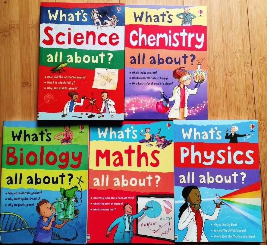 5 Books/Set English textbook What's Science Maths Chemistry Biology Physics all About? English Language 29.3*24.7cm