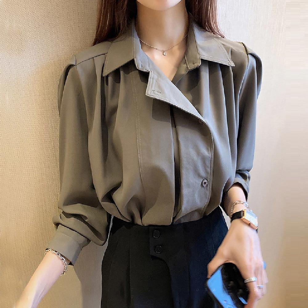 Spring Fall Women's Loose Blouse Tops 2021 Plain Janpanese Female Long Sleeve Office Lady Work Shirt