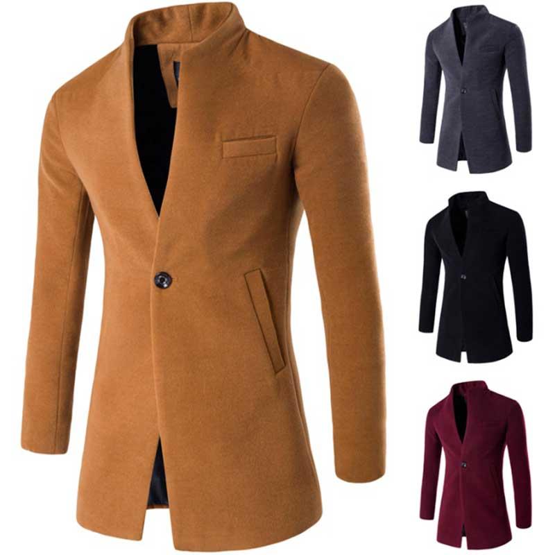 ZOGAA Otoño Invierno chaquetas y abrigos solo Breasted Mens Casual chaquetas de mezcla de lana Chaqueta Hombre abrigo Slim abrigos