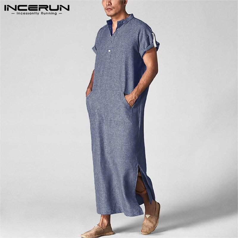 Incerun homem árabe islâmico kaftan gola manga curta bolsos robes moda médio oriente muçulmano jubba thobe mais tamanho