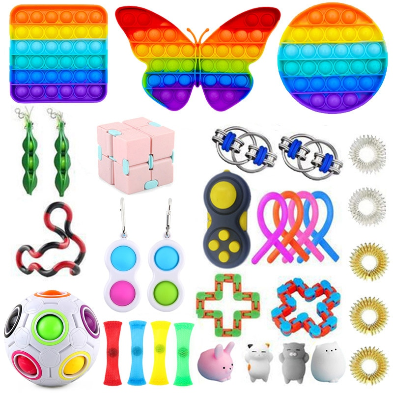 Pop It Fidget Toys Anti Stress Set Stretchy Strings Push Gift Pack Adults Children Squishy Sensory Antistress Relief Figet Toys enlarge