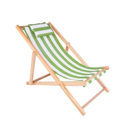 Silla de playa plegable al aire libre de madera sólida + Oxford lienzo con silla reclinable portátil Silla de pesca ajustable salón de madera colorido