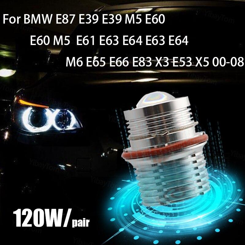 2 قطعة مشرق مصباح 6000K 120W LED عيون الملاك مصباح تحديد أبعاد المركبة لمبات ل BMW E87 E39 M5 E60 E61 E63 E64 M6 E65 E66 E83 X3 E53 X5 00-08