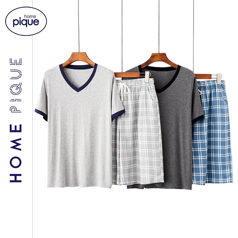 Schlafanzug-Pijama con cuello de pico para Hombre, conjunto de 2 piezas con pantalones cortos, estilo coreano, Sexy, Verano