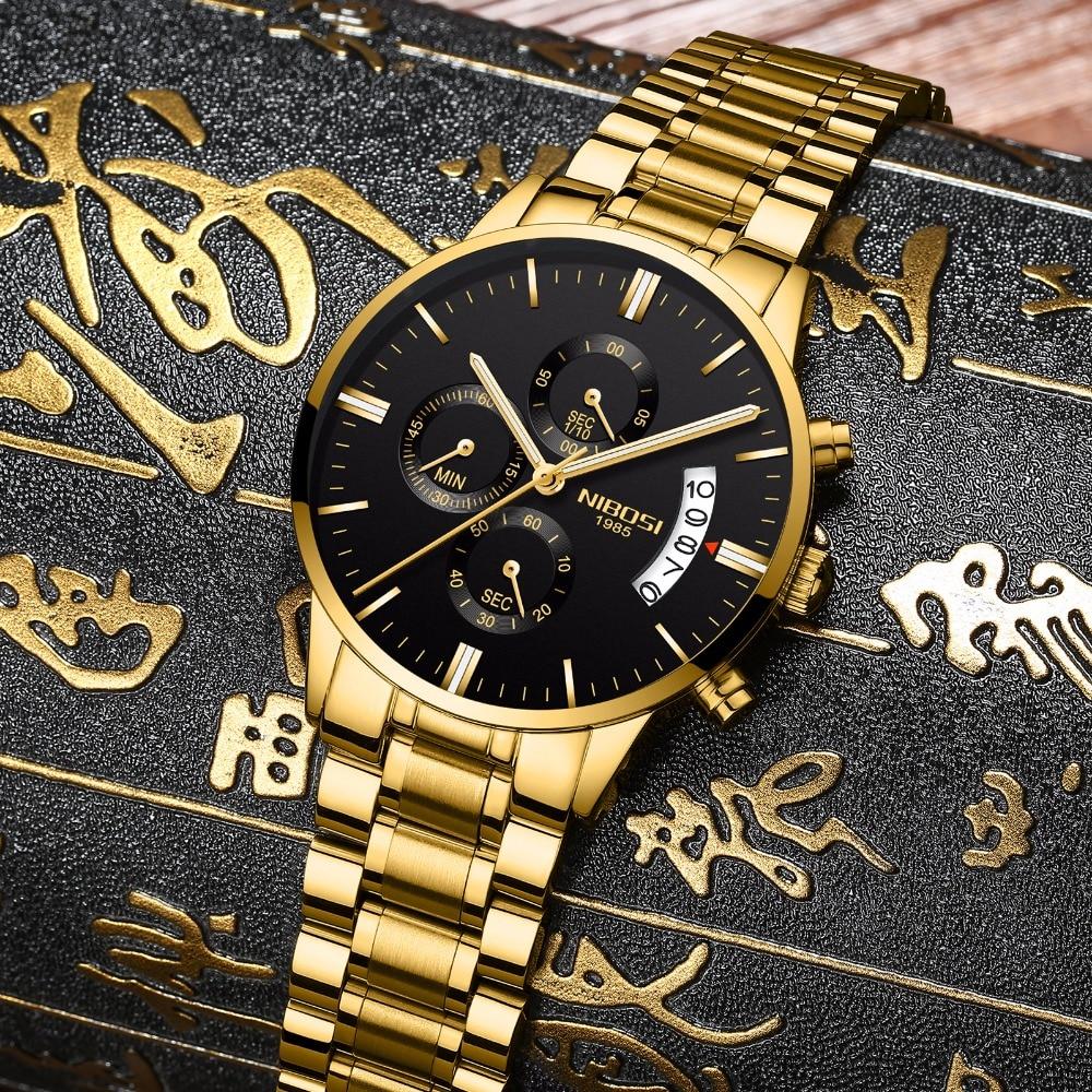 NIBOSI موضة جديدة الساعات مع الفولاذ المقاوم للصدأ الذهب العلامة التجارية الفاخرة الرياضة ساعة كوارتز بكرونوجراف الرجال Relogio Masculino