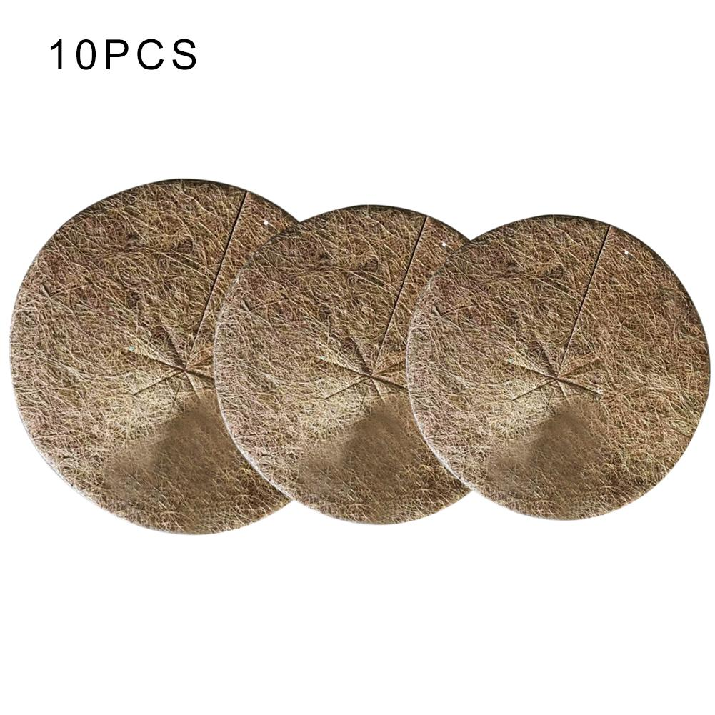 Lote de 10 Uds de tapete plano marrón para plantas y flores, tapete de coco de varios tamaños, alfombrilla para palmeras de coco para jardinería, tapete de coco