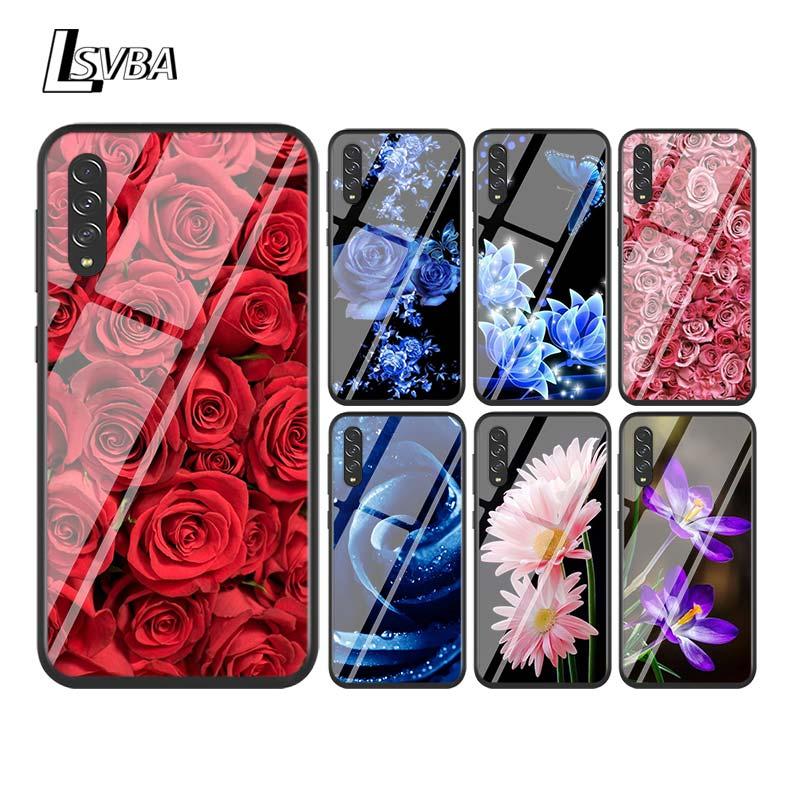 Funda negra de flores rosas grandes para Samsung Galaxy A90 A80 A70 A60 A50 A40 A30S A20E A20S A10