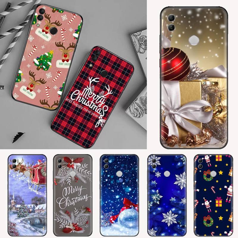 happy New Year Christmas Soft black Phone Case For Huawei Honor view 7a5.45inch 7c5.7inch 8x 8a 8c 9 9x 10 20 10i 20i lite pro