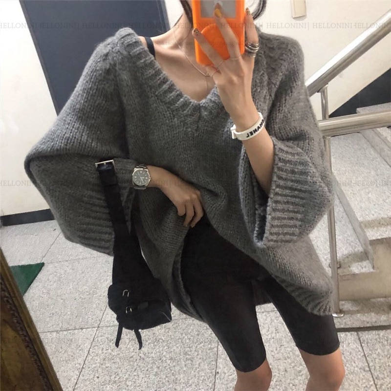 women pullover loose embroidery knitted solid color long sleeve jumper streetwear sweaters tops pullovers female clothes autumn Knitting Long Sleeve Solid Tops Loose Sweaters Female V-neck Sweater Women Winter Pullover Knitted Jumper Thick Sexy Streetwear