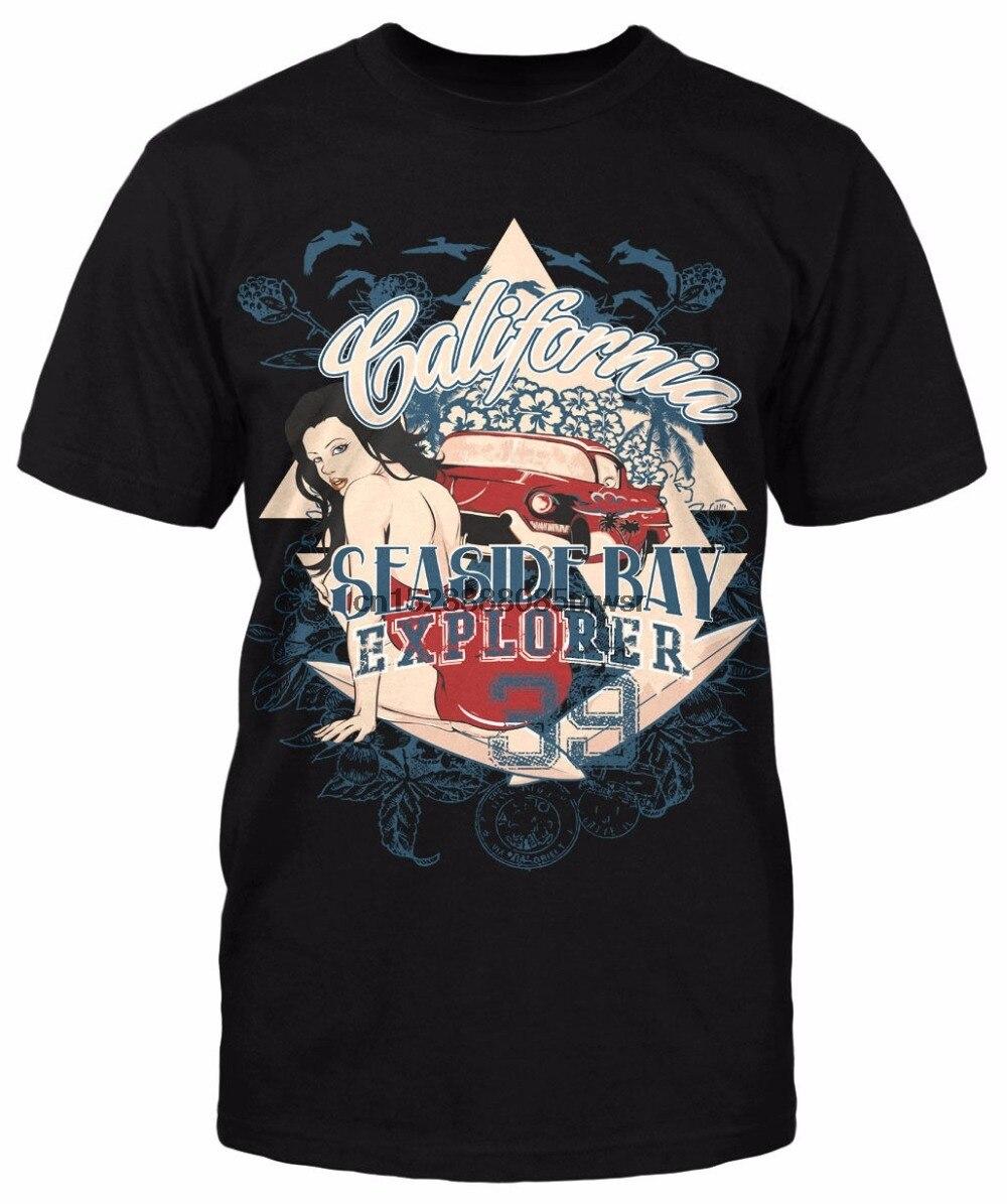 2019 New Short Sleeve Men 100 % Cotton Tee Shirt For Men California Seaside Bay pin up girls sex Custom car T Shirt Printing