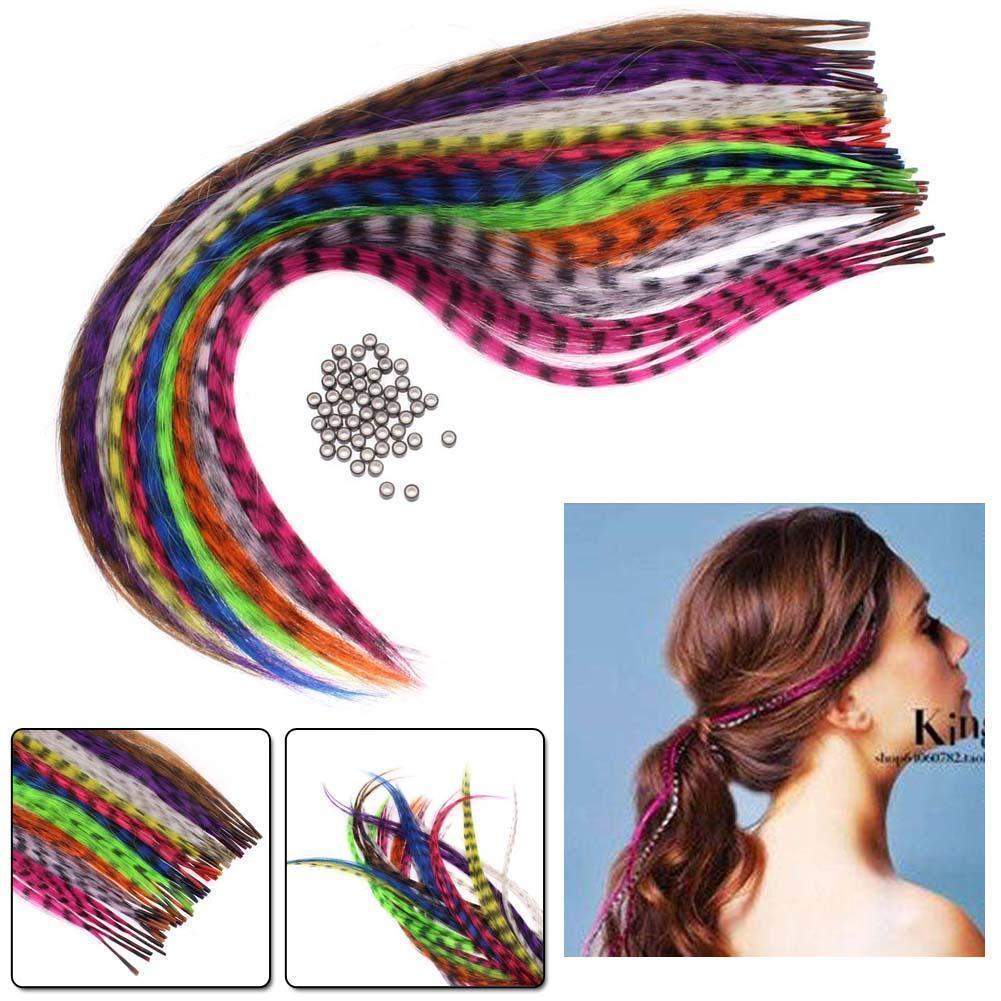10 piezas de accesorios para el cabello de fiesta de extensión de plumas de pelo sintético Multicolor recto