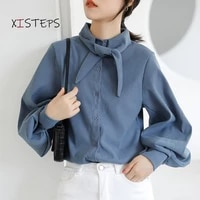 lantern sleeve blouses for women blue white black shirts 2021 spring autumn bow tie office lady tops elegant womans clothings