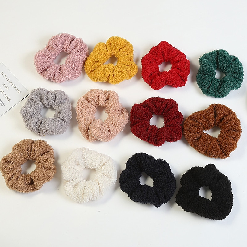 1PC invierno suave Scrunchies del pelo de terciopelo de pelo para las niñas y las mujeres accesorios para el cabello de Color caramelo de cola de caballo de pelo anillos