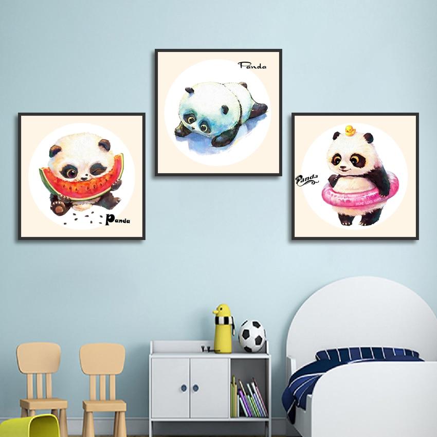 Cuadro de pared dibujo Panda bonito con sandía anillo de natación lienzo pósteres e impresiones artísticos para la decoración de la habitación del chico