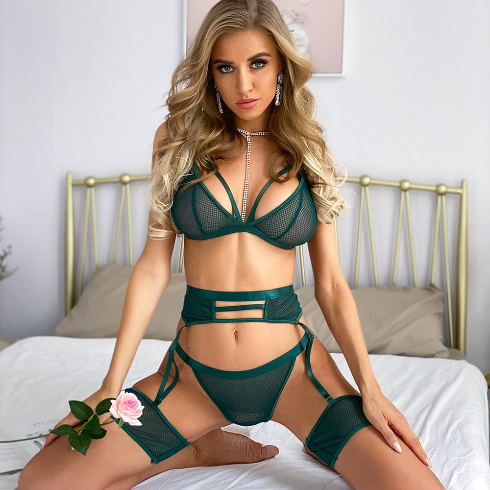 Yimunancy 3-piece Bra Set Women Hallow Out Transparent Bra Set 2020 Ladies Sexy Underwear Lingerie Set