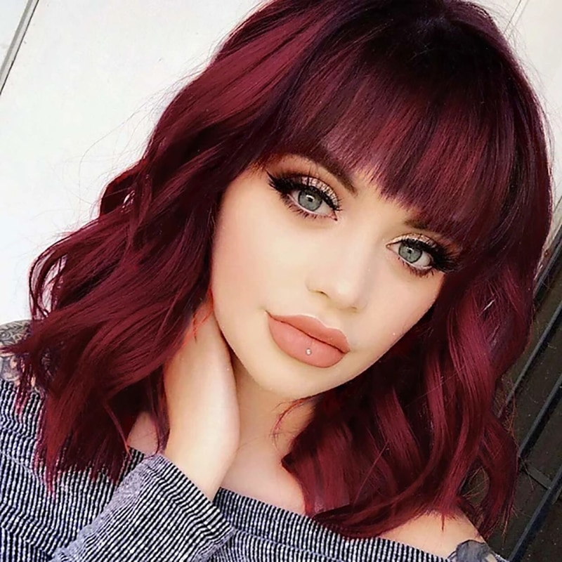 HAIRJOY Women Synthetic Wig Loose Wave Medium Length Brown Ombre Hair Wigs with Bangs Heat Resistant  Fiber