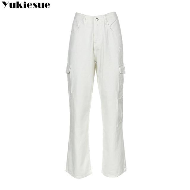 Fashion Loose Jeans Casual Work Pants women Hip Hop Jeans woman Cotton Trousers Big Pocket women Clothes Blue/black/white Jeans 8