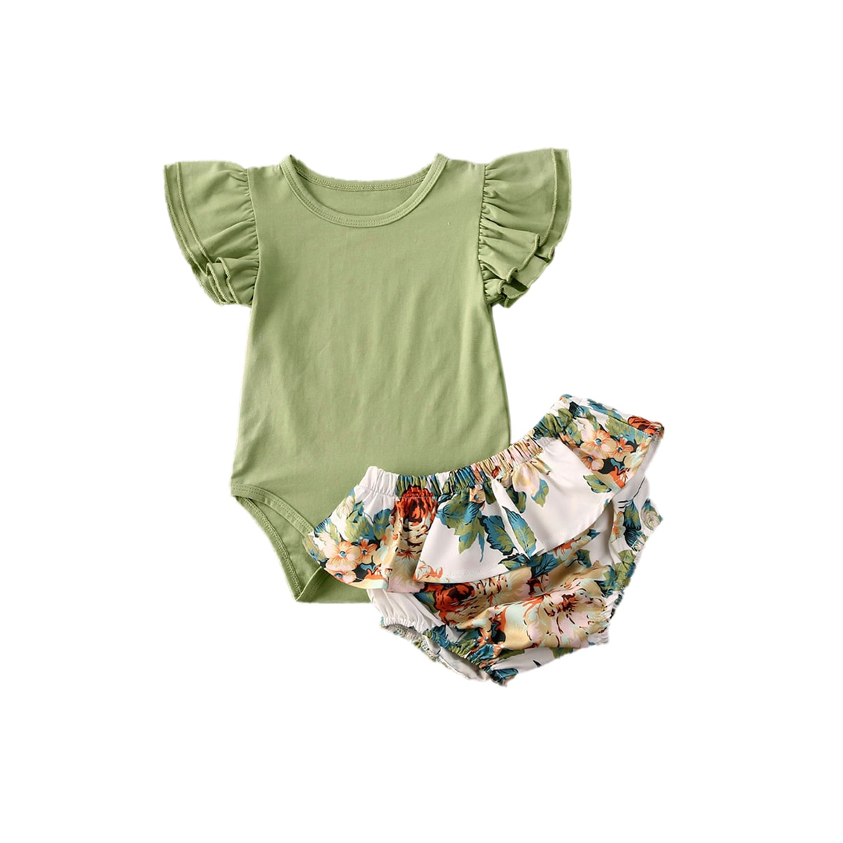 0-24M Newborn Baby Girl Tutu Skirts Clothes Toddler KIds Short Sleeve Romper Tops Floral Shorts Outfits