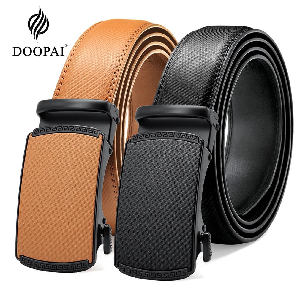 DOOPAI Multicolor Genuine Leather Men's Belts Fashion Business Automatic Buckle Straps Ratchet Cow L