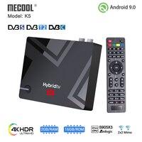 Mecool K5 DVB-S2 DVB-T2 Amlogic S905X3 Android 9,0 четырехъядерный 2 Гб 16 Гб DVB T2 S2 4K медиаплеер Двойной Wi-Fi PVR Запись ТВ-приставка