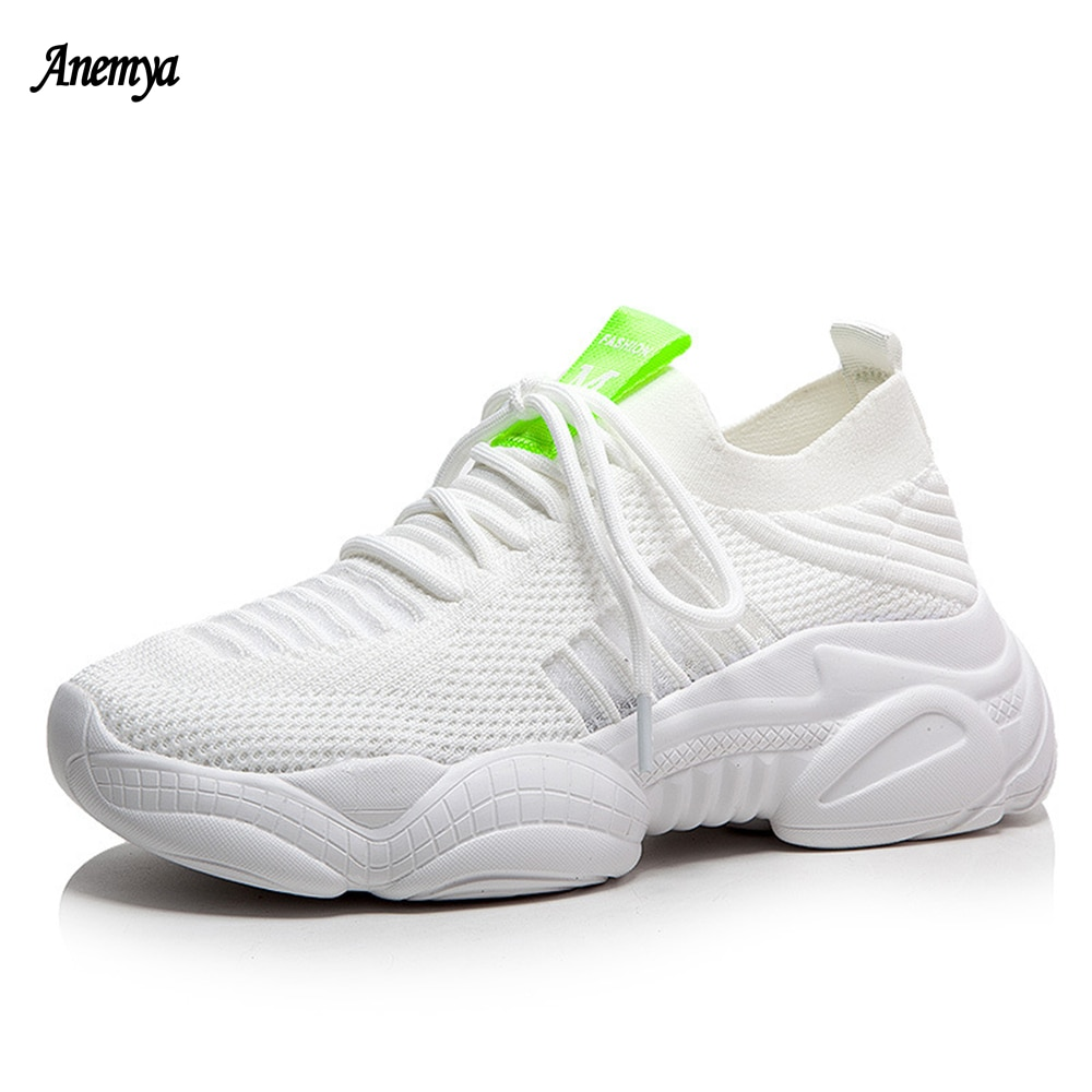 2021 New White Chunky Platform Running Shoes Women Spring Autumn Fashion Casual Sneakers Breathable Mesh Women's Sports Shoes 40