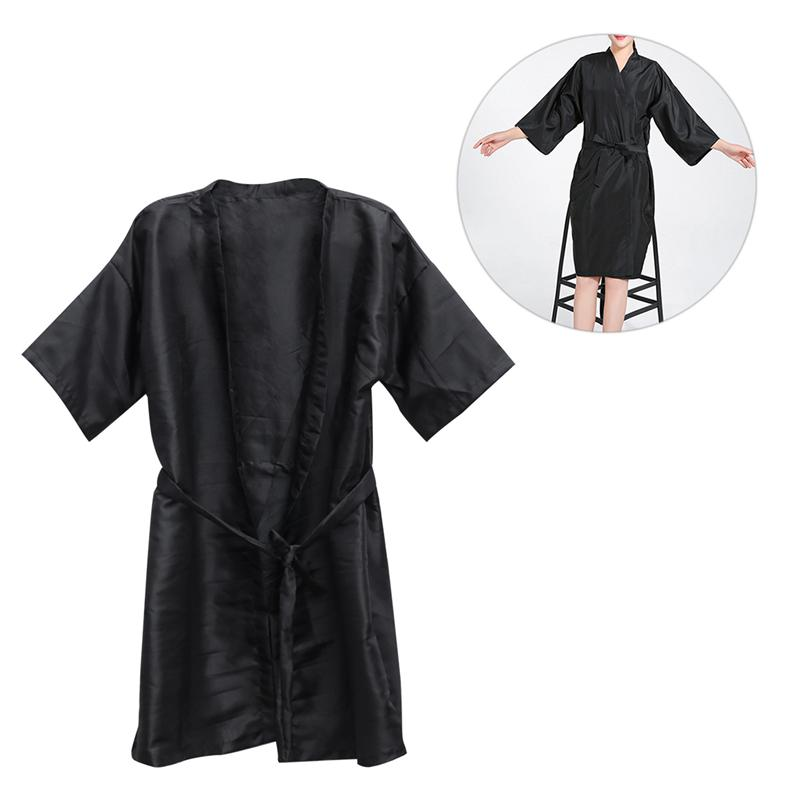 Salão de beleza convidado robe pano fino beleza quente tingimento roupas arte produtos para o cabelo spa salão de beleza smocks para clientes cabelo cabo (preto)