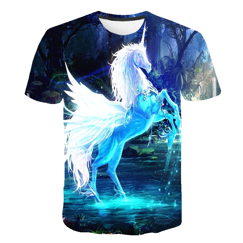 Baby Girls T-shirt 4 5 6 7 8 9 10 11 12 13 14 Years Unicorn Kids T Shirt Children Clothes Summer Unicorn T shirts Girl Tops Tees