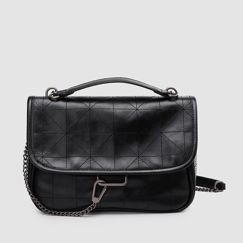 Women's Bag New Black All-Match Rock Soft Shoulder Messenger Bag Rhombus Chain Wandering Women's Bag bag for women