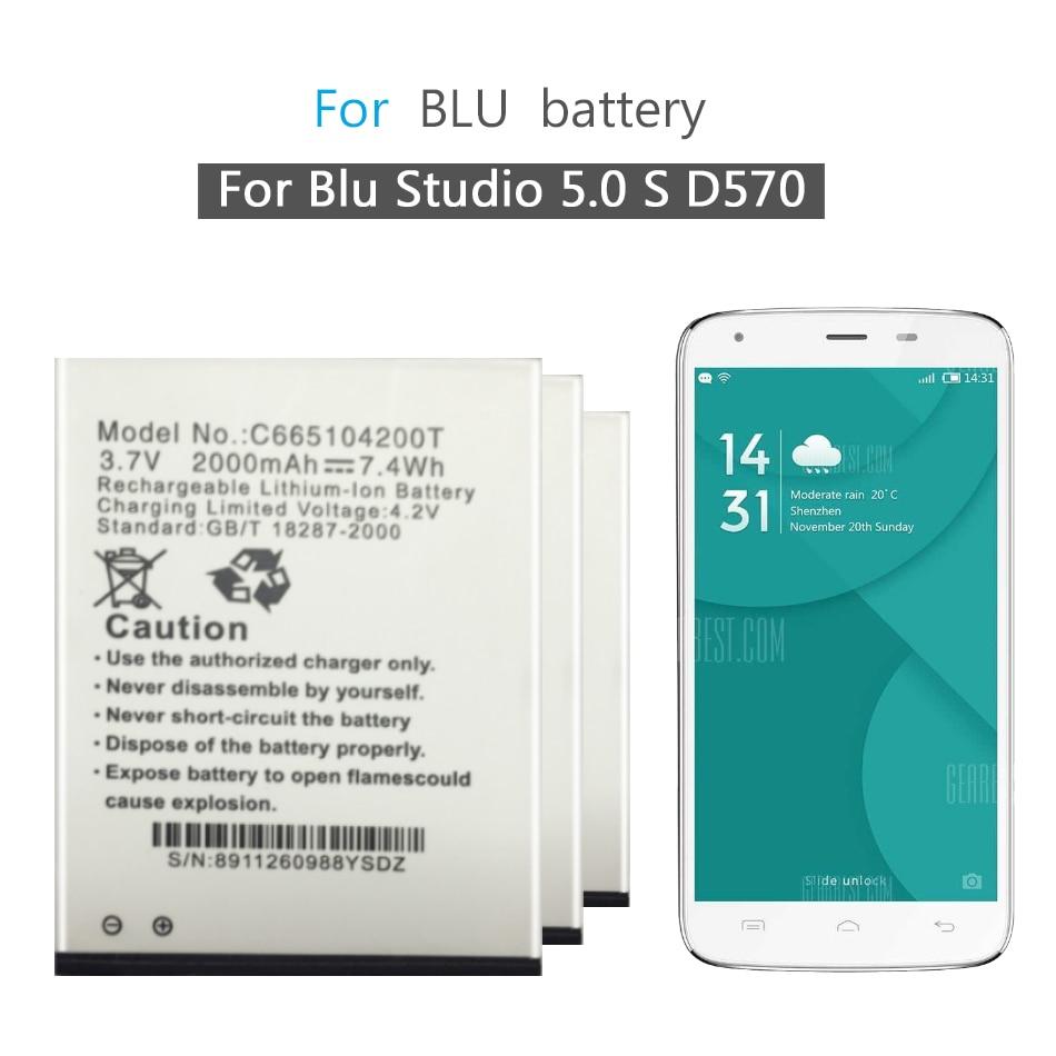 Para Blu Studio 5,0 S D570 D-570 D570A D572A Y530Q reemplazo de batería de teléfono móvil C665104200T 2000mAh