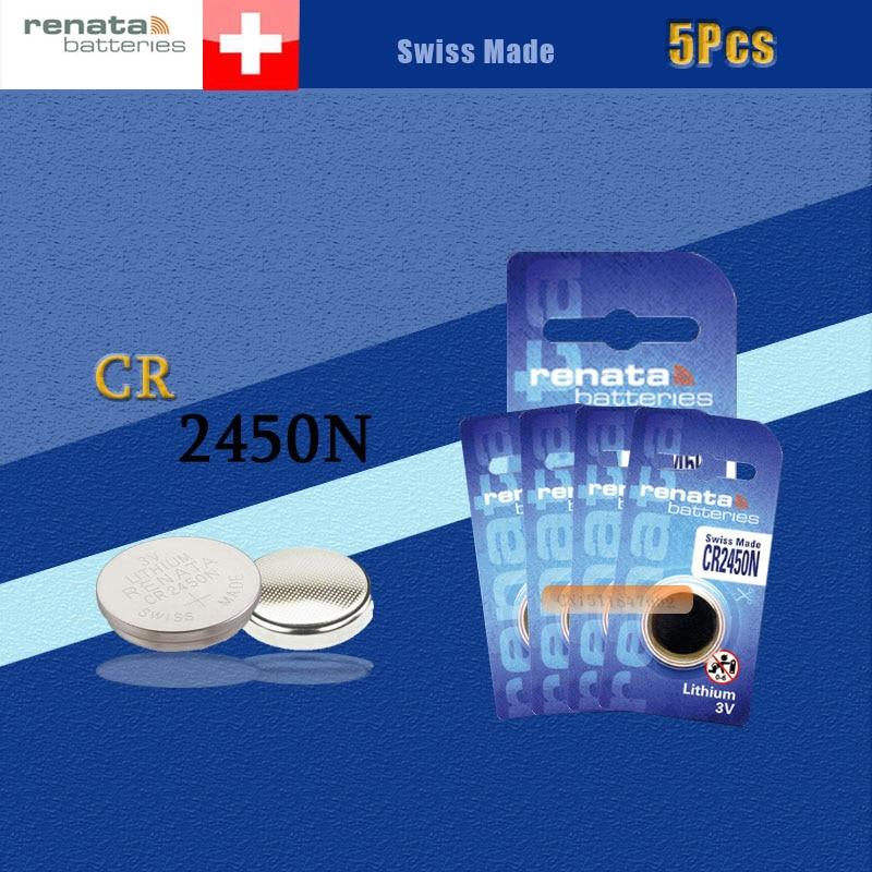 5 X batería de litio renata CR2450 3V % 100 original marca renata 2450 batería