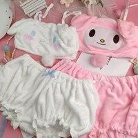 kawaii girls hairy pajamas set anime cute fluffy tube top shorts cartoon cinnamo bunny ear underwear sleepwear suits roll