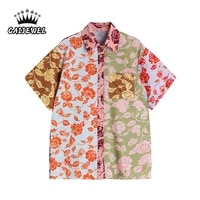 short sleeve womens blouse 2021 summer streetwear patchwork vintage printing white polo collar casual button up top baggy shirt