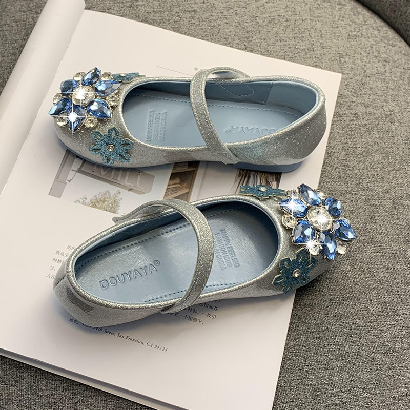 Girl's leather shoes princess shoes 2020 new single shoes soft sole little girl children's crystal shoes shining shoes enlarge