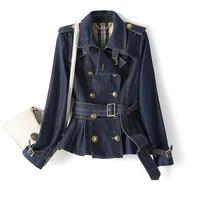 newest 2021 designer fashion designer denim coat womens double breasted buttons biker denim motorcycle jacket