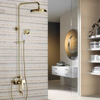 shower faucets gold brass bathroom shower mixer tap faucet set rain shower head round wall mounted bathtub faucet zgf315