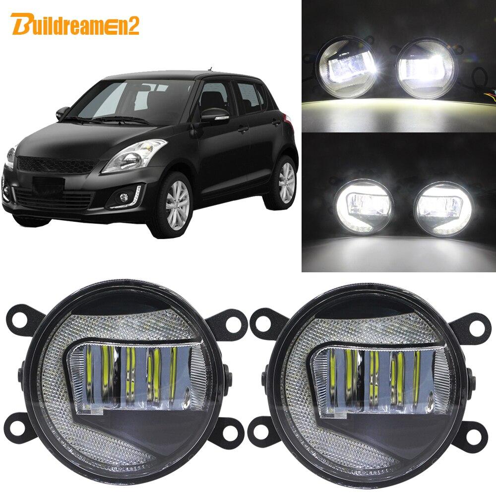 Proyector LED de 90mm Buildreamen2 para coche, Luz antiniebla + lámpara diurna DRL blanca de 12V para Suzuki Swift MZ EZ Hatchback 2005-2015
