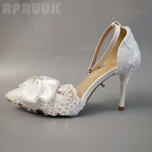 Summer wedding pumps shoes woman plus size sexy bow point toes 10CM high heels butterfly-knot lace bridal pumps shoes women